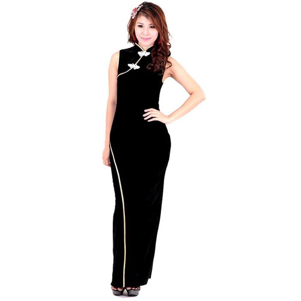 Asian Velvet Gown - Asian Dresses