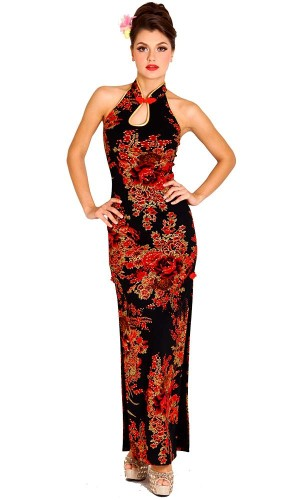 Beautiful Black Cheongsam Asian Dresses