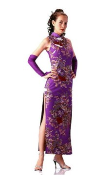 Beautiful Purple Cheongsam Asian Dresses