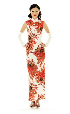 Beautiful White Cheongsam Asian Dresses