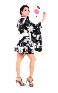 Black A-line Style Kimono Kimono Dresses
