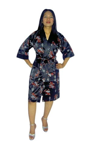 Black Silk Robe Unisex Kimonos