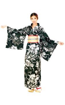 Black Yukata Dress Kimono Dresses