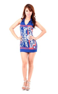 Blue Budweiser Dress Short Dresses