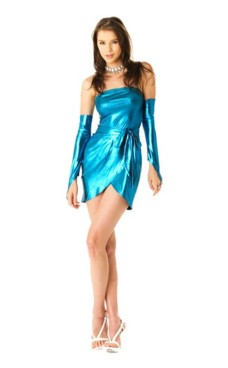 Blue Metallic Party Dress Short Dresses