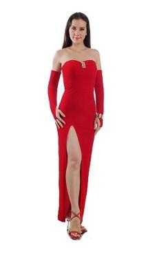 Chic Strapless Red Dress