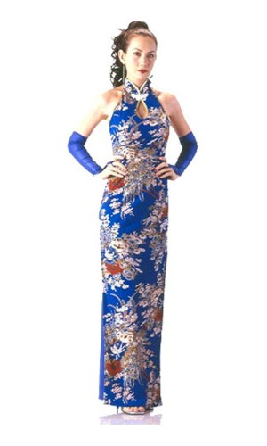 Elegant Blue Cheongsam Asian Dresses