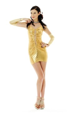 Gold Metallic Party Dress