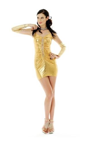 Gold Metallic Party Dress Short Dresses