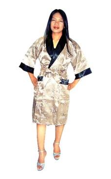 Gold Silk Robe Unisex Kimonos