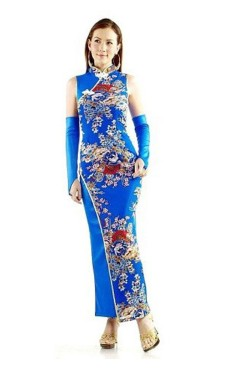 Graceful Blue Qipao Asian Dresses