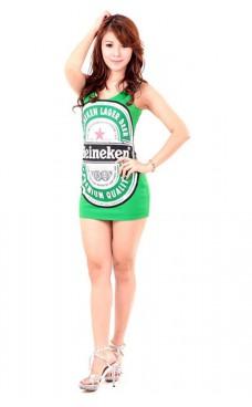 Green Heineken Dress Short Dresses