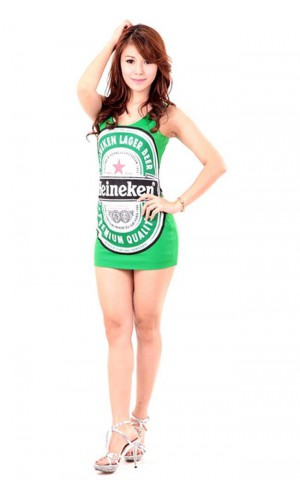 Green Heineken Dress Short Dresses