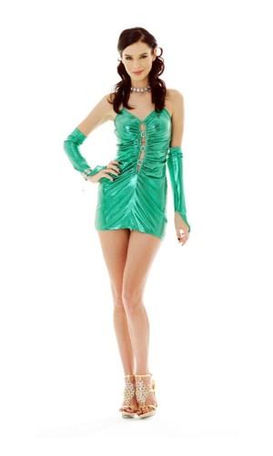Green Metallic Party Dress Short Dresses
