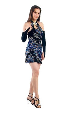 Luxurious Short Black Cheongsam Asian Dresses