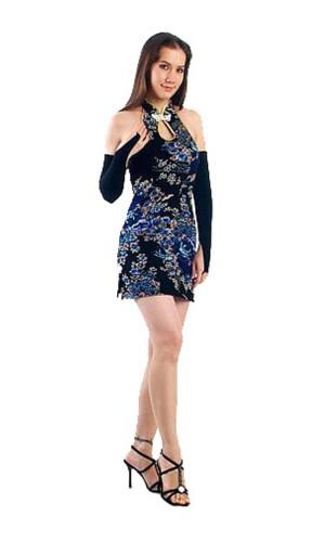 Luxurious Short Black Cheongsam Asian Dresses