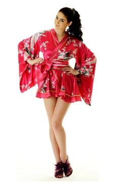 Pink Yukata Mini Dress Kimono Dresses