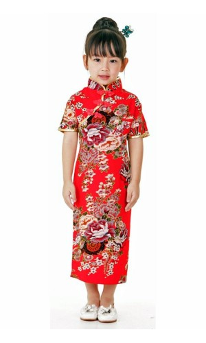 Red Chinese Kids Dress Children's Oriental Dresses