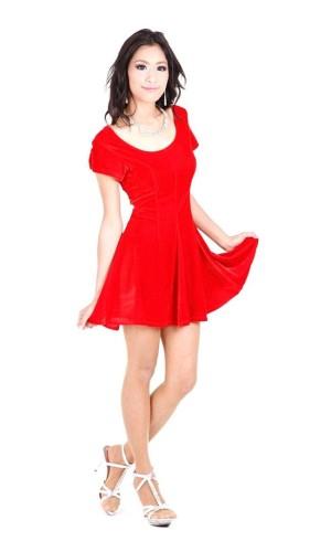 Red Short Sleeve Dress Short Dresses