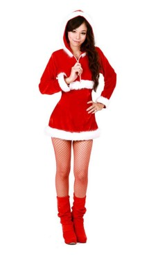 Santa Hooded Costume Christmas Dresses