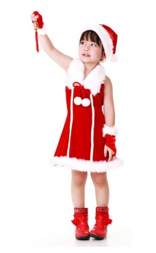 Santa Princess Kids Dress Children's Christmas Costumes