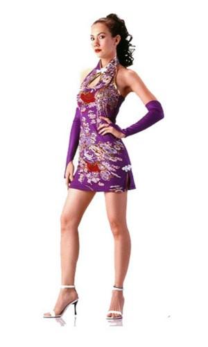 Sexy Short Purple Cheongsam Asian Dresses