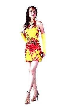 Sexy Short Yellow Cheongsam Asian Dresses