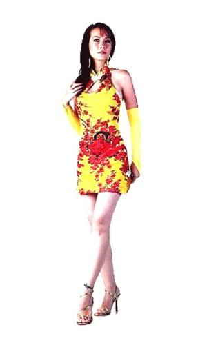Sexy Short Yellow Cheongsam Asian Dresses