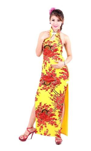 Sexy Yellow Cheongsam Asian Dresses