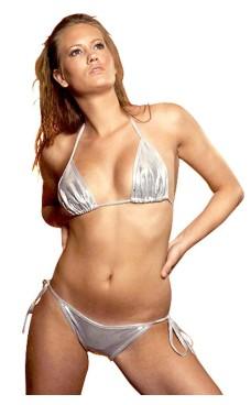 Shimmering Silver Bikini Bikini Sets