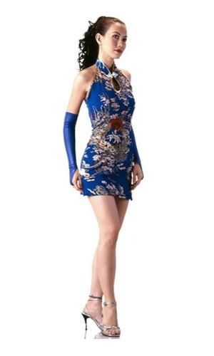 Short Beautiful Blue Cheongsam Asian Dresses