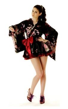 Short Black Yukata Kimono Dresses