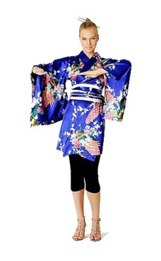 Short Blue Kimono Dress