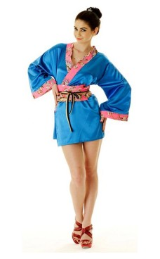 Short Blue Yukata Dress