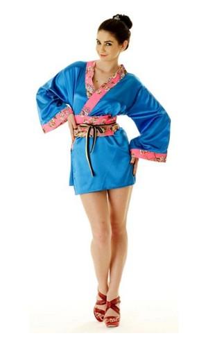 Short Blue Yukata Dress Kimono Dresses