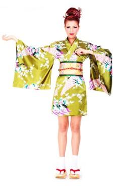 Short Green Yukata Dress Kimono Dresses