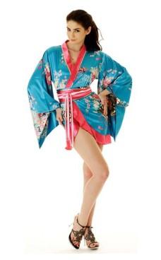 Short Turquoise Yukata Dress Kimono Dresses