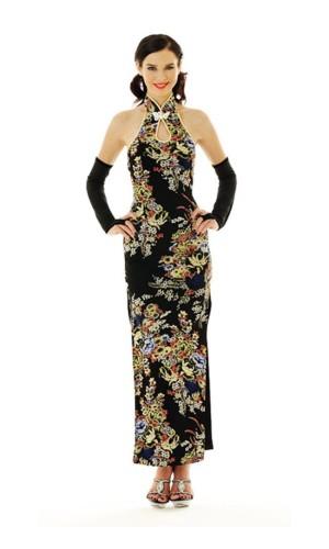 Sophisticated Black Cheongsam Asian Dresses