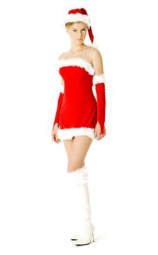 Strapless Santa Dress Christmas Dresses