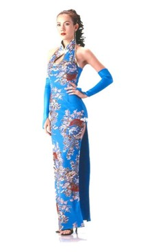 Stylish Turquoise Cheongsam Asian Dresses