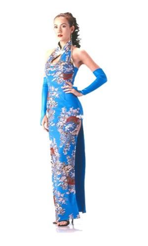 Stylish Turquoise Cheongsam Asian Dresses