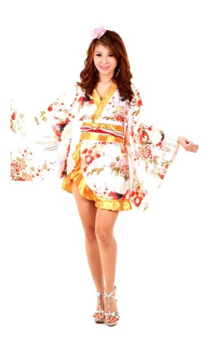 White Asian Kimono Kimono Dresses