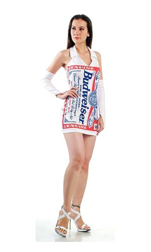 White Budweiser Dress Short Dresses