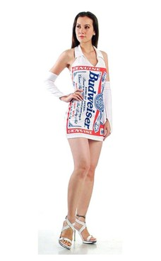 White Budweiser Dress Short Dresses
