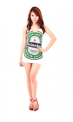 White Heineken Dress Short Dresses