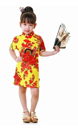 Yellow Cheongsam Kids Dress Children's Oriental Dresses
